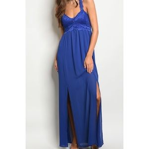 Lori + Mari Royal Blue Lace Front Maxi Dress